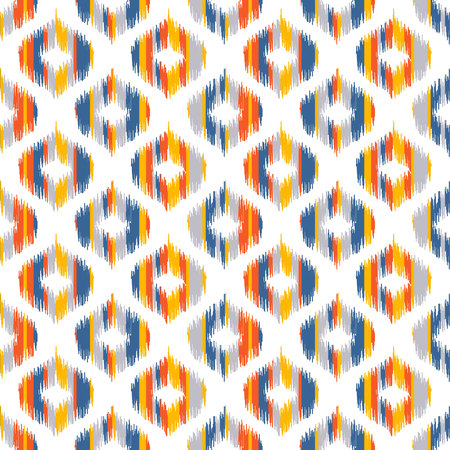 based: Seamless geometric pattern, based on ikat fabric style. Vector illustration. Carpet rug texture vector imitation. Yellow, red, blue and grey ogee pattern. Illustration