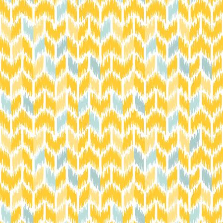 원활한 형상 패턴, ikat 패브릭 스타일을 기반으로합니다. 벡터 일러스트 레이 션. 카펫 깔 개 질감 벡터 모방입니다. 노란색과 회색 갈매기 형 패턴.