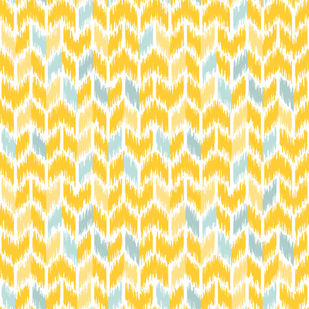 Seamless geometric pattern, based on ikat fabric style. Vector illustration. Carpet rug texture vector imitation. Yellow and gray chevron pattern.