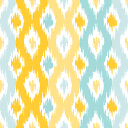 Seamless Geometric pattern, based on ikat fabric style. Vector illustration. Carpet rug texture vector imitation. Yellow and turquoise mint ogee pattern.