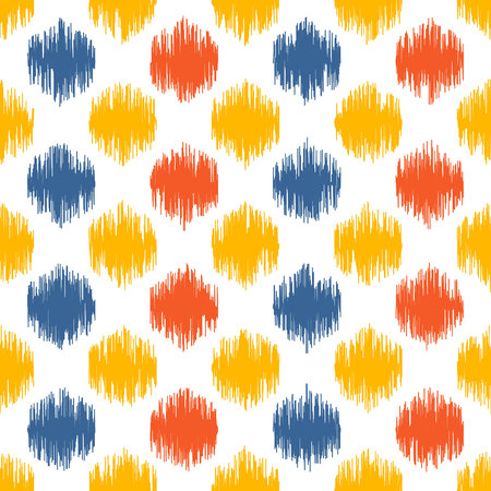 based: Seamless geometric pattern, based on ikat fabric style. Vector illustration. Carpet rug texture vector imitation. Colorful spots pattern.