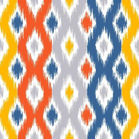 Nahtloses geometrisches Muster, basierend auf ikat Stoffstil. Vektor-Illustration. Teppich Teppich Textur Vektor Nachahmung. Gelbes, rotes, blaues und graues Ogee-Muster. Standard-Bild - 80330454