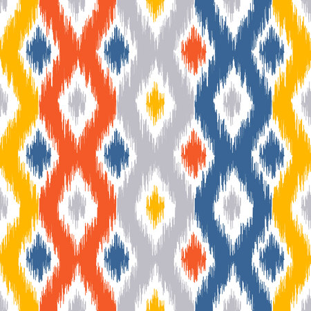 Seamless geometric pattern, based on ikat fabric style. Vector illustration. Carpet rug texture vector imitation. Yellow, red, blue and grey ogee pattern. Çizim