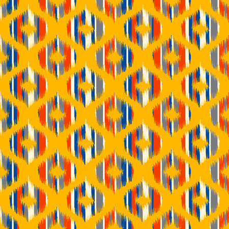 oriental rug: Seamless geometric pattern, based on ikat fabric style. Vector illustration. Carpet rug texture vector imitation. Yellow, red, blue and grey ogee pattern. Illustration