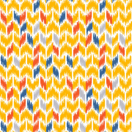 oriental rug: Seamless geometric pattern, based on ikat fabric style. Vector illustration. Carpet rug texture vector imitation. Yellow and gray chevron pattern.