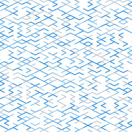 Geometric random lines pattern. Abstract technology background with blue and grey geometric shapes in tessellation on white. Linear abstract lattice, random coloring. Vector seamless linear pattern.