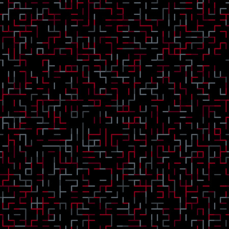 diamond texture: Geometric random lines pattern. Abstract technology dark background with red and grey geometric shapes tessellation on black. Linear abstract lattice, random coloring. Vector seamless linear pattern.