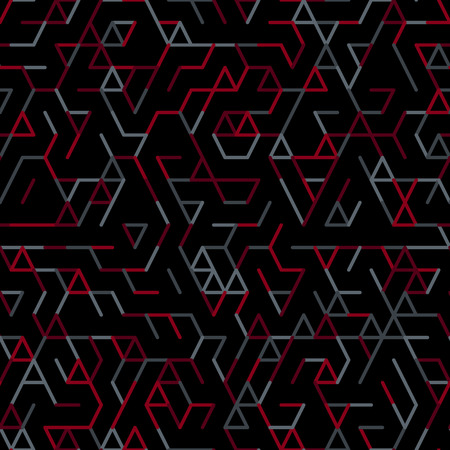 entwined: Geometric random lines pattern. Abstract technology dark background with red and grey geometric shapes tessellation on black. Linear abstract lattice, random coloring. Vector seamless linear pattern.