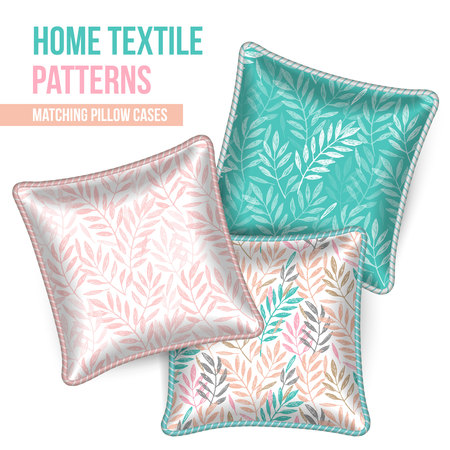 Pattern and Set of 3 matching decorative throw pillows with this pattern applied. Patterned cushion. Tropical leaves foliage pattern. Vector illustration.