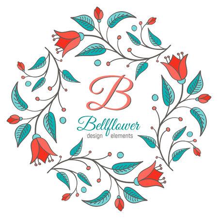 Bell flower design element. Floral wreath frame. Monogram letter B inside. Perfect for wedding invitation design.