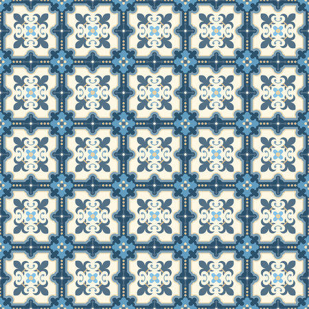 edwardian: Floor tiles - seamless vintage pattern with quatrefoils.  Patchwork style pattern. Seamless vector background. Plain colors - easy to recolor. Illustration