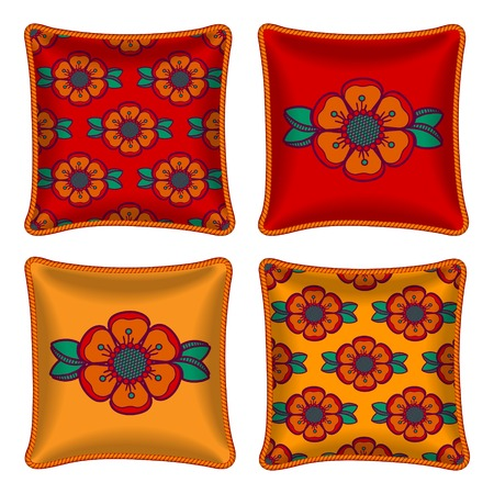 Set of four matching decorative pillows for interior design. Colorful floral pattern in on bright red and orange background. Vector illustration. Four throw pillows, graphic orange flowers.