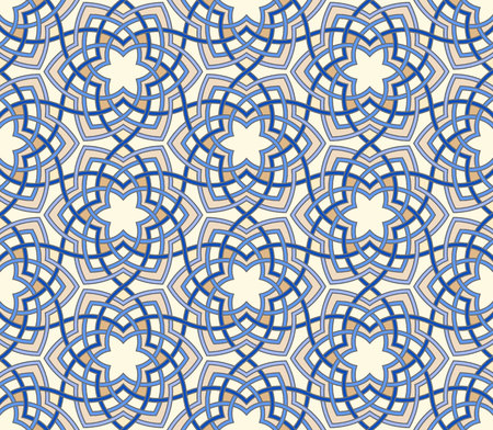 Arabesque floral pattern. Entwined flowers in arabic geometry style. Geometric flowers in seamless vector background. Abstract flowers in oriental arabesque style. Intricate tangled geometric pattern