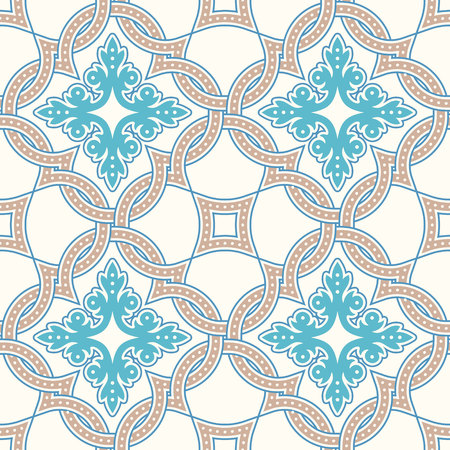 talavera: Portuguese tiles, Quatrefoil vector pattern. Tangled modern pattern, based on traditional oriental arabic patterns - arabesque. Seamless vector background. Moroccan, Turkish, Lisbon floor tiles. Illustration
