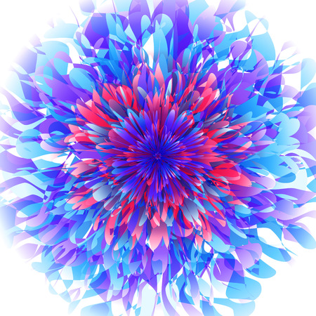 distort: Abstract futuristic background with random layered texture. Fantastic flower vector illustration. Illustration