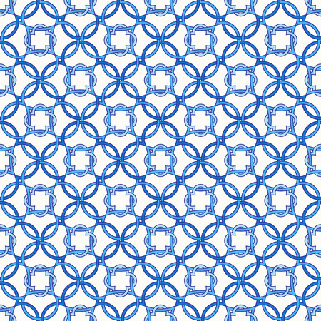 Portuguese tiles, quatrefoil vector seamless pattern. Tangled modern pattern, based on traditional oriental Arabic patterns, arabesque. Illustration