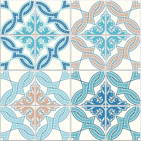Carreaux portugais, modèle vectoriel quadrilobe. Modèle moderne enchevêtré, basé sur un motif oriental traditionnel = arabe, arabesque