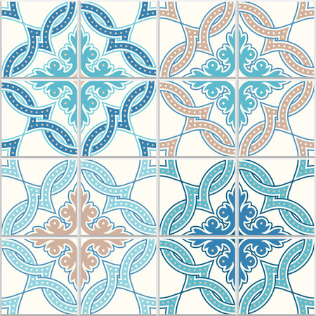 Portugese tegels, vierpasboll vectorpatroon. Verwarde moderne patroon, gebaseerd op traditionele oosterse a = Arabische patronen, arabesk.
