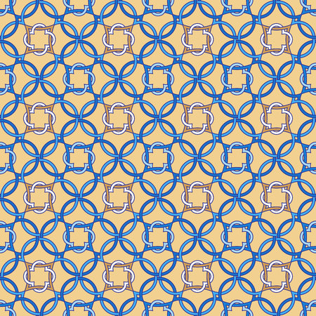 Portuguese tiles, Quatrefoil vector pattern. Tangled modern pattern, based on traditional oriental Arabic patterns.