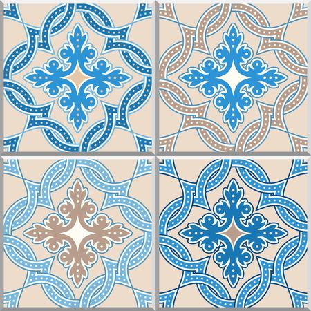 Portuguese tiles, Quatrefoil vector pattern. Tangled modern pattern, based on traditional oriental Arabic patterns., Turkish, Lisbon floor tiles.