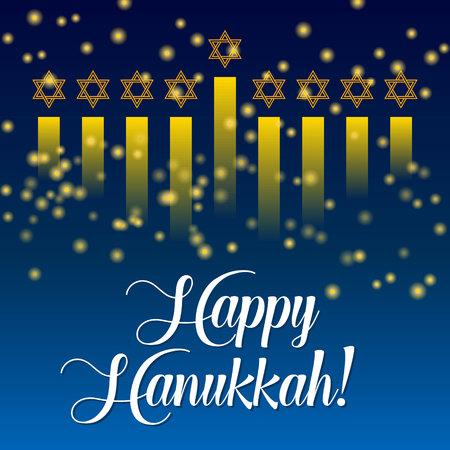 Happy Hanukkah greeting card, lights on dark background. Hanukkah party poster template or banner for social media. Menorah vector ilustration.