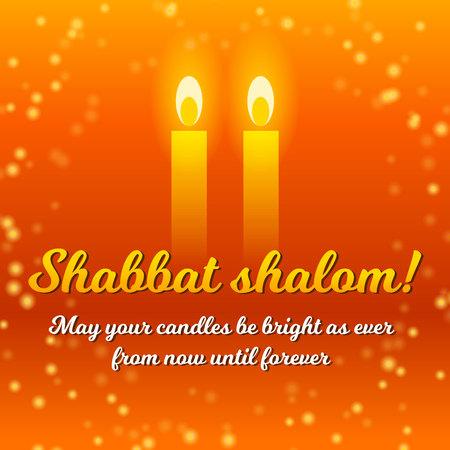Shabbat shalom lettering, greeting card, vector illustration. Two burning shabbat candles and bokeh background. Jewish religious Sabbath congratulations in Hebrew. Vektoros illusztráció