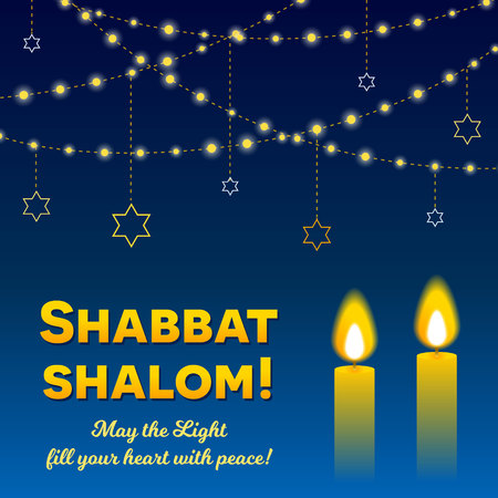 Shabbat shalom belettering, wenskaart, vectorillustratie. Twee brandende Shabbat-kaarsen en koorden van lichten op bokehachtergrond. Joodse religieuze sabbat gefeliciteerd in het Hebreeuws.