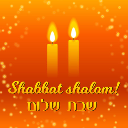 Shabbat shalom lettering, greeting card, vector illustration. Two burning shabbat candles and starry night sky bokeh background. Jewish religious Sabbath congratulations in Hebrew.