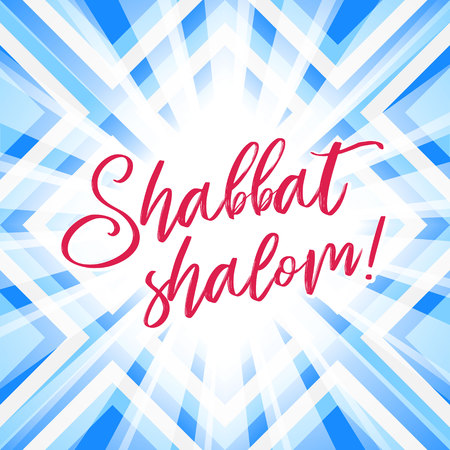 Colorful Shabbat shalom greeting card, vector illustration. Jewish religious Sabbath congratulations in Hebrew. Abstract geometric mosaic pattern background. Illustration
