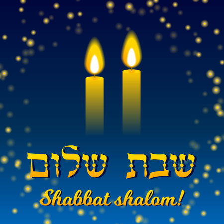 Shabbat shalom lettering, greeting card, vector illustration. Two burning shabbat candles and bokeh starry night sky background. Jewish religious Sabbath congratulations in Hebrew.