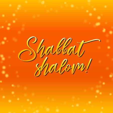 Shabbat shalom lettering, greeting card, vector illustration. Hebrew words Shabbat shalom and starry night bokeh background. Jewish religious Sabbath congratulations in Hebrew. Illustration