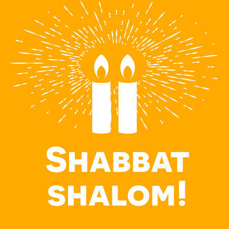 Shabbat shalom lettering, greeting card, vector illustration. Two burning shabbat candles and bokeh orange rays of light background. Jewish religious Sabbath congratulations in Hebrew.