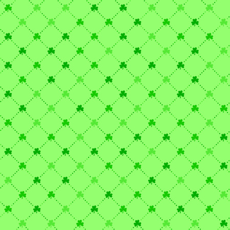 Bright green clover leaves, seamless lattice pattern vector background. Flat illustration of clover icon, St Patricks background.