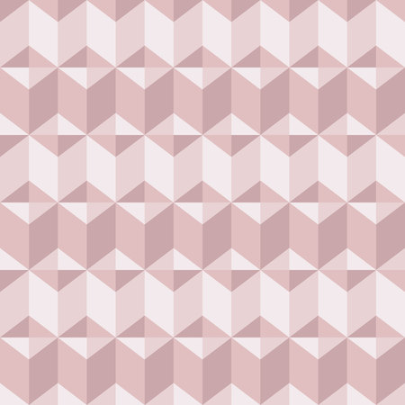 Abstract geomeric background in blush pink colors. Millennial pink rose gold, crystal texture. Seamless vector pattern. 3D surface background. Ilustração