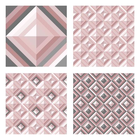 Abstract geomeric background in blush pink colors. Millennial pink rose gold, crystal texture. Seamless vector pattern. 3D surface background. Illustration