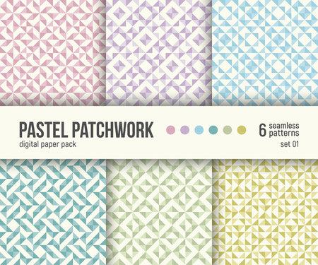 デジタルペーパーパック、6つの抽象的なシームレスパターンのセット。抽象的な幾何学的背景。ベクトルのイラスト。パステル パッチワーク テク