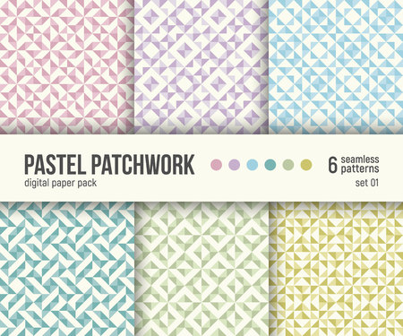 Digital paper pack, set of 6 abstract seamless patterns. Abstract geometric backgrounds. Vector illustration. Pastel patchwork textures.