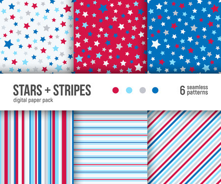 Digital paper pack, set of 6 abstract seamless patterns. Abstract geometric backgrounds. Vector illustration. Stars patriotic pattern and striped patterns. Independence day decoration background.