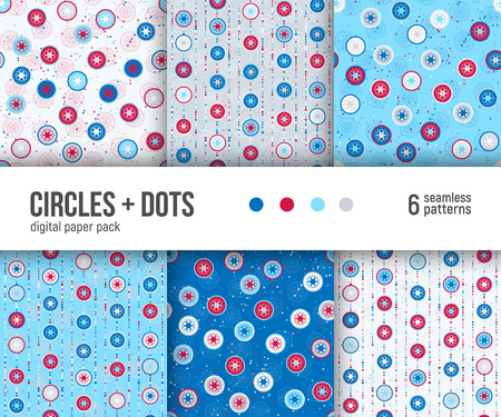 Digital paper pack, set of 6 abstract seamless patterns. Abstract geometric backgrounds. Vector illustration.