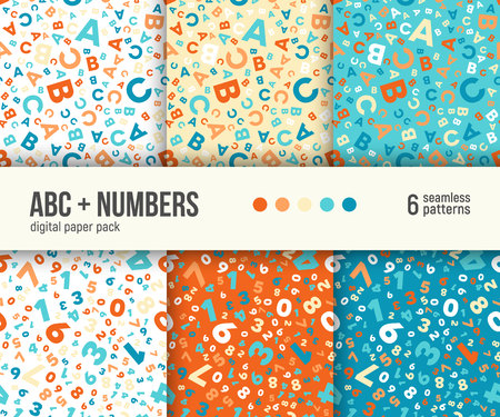Digital paper pack, set of 6 abstract seamless patterns. Abstract geometric backgrounds. Vector illustration. ABC and math background for kids education.