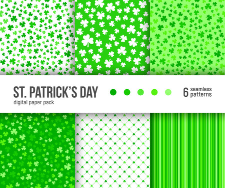 Digital paper pack, set of 6 abstract seamless patterns. Abstract geometric backgrounds. Vector illustration. Green clover patterns, St. Patrick Day background. Illustration