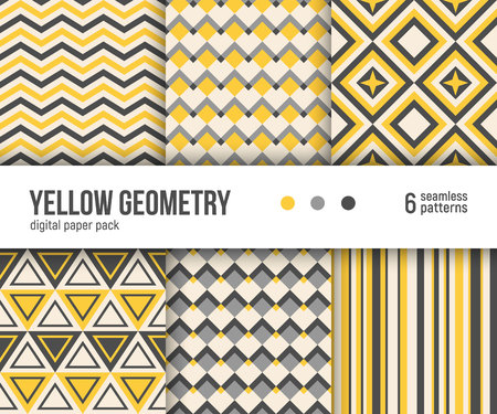 Digital paper pack, set of 6 abstract seamless patterns. Abstract geometric backgrounds. Vector illustration. Simple yellow geometric patterns.