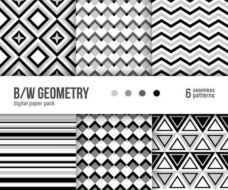 Digital paper pack, set of 6 abstract seamless patterns. Abstract geometric backgrounds. Vector illustration. Black and white minimal geometric patterns.
