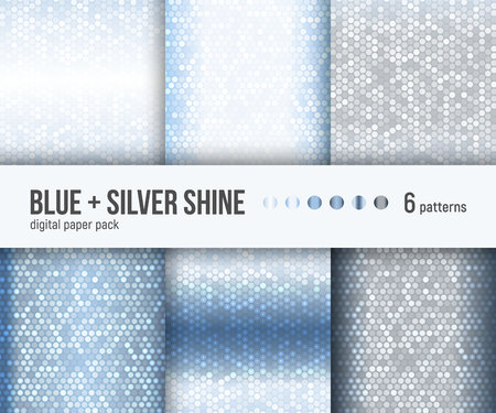 Digital paper pack, set of 6 abstract shiny patterns. Abstract geometric backgrounds. Vector illustration. Luxury metallic backgrounds. Blue, white and silver foil.