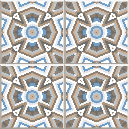 Set of 4 abstract seamless patterns. Abstract geometric backgrounds vector illustration. Portuguese floor tiles design floor cement tiles collection, golden brown and grey blue colors.