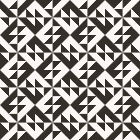 Black and white abstract geometric quilt pattern. High contrast geometric background with triangles. Simple colors - easy to recolor. Minimal background. Vector illustration. 矢量图像