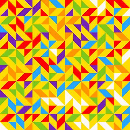 Rainbow mosaic tiles, abstract geometric background, seamless vector pattern. Colorful geometric background with triangles. Minimal rainbow colored. Vector illustration. Vectores