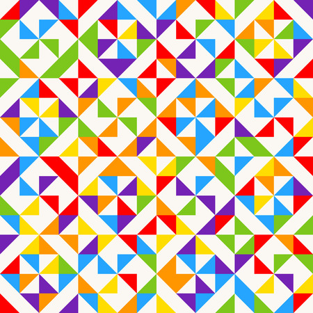 Rainbow mosaic tiles, abstract geometric background, seamless vector pattern. Colorful geometric background with triangles. Vector illustration.