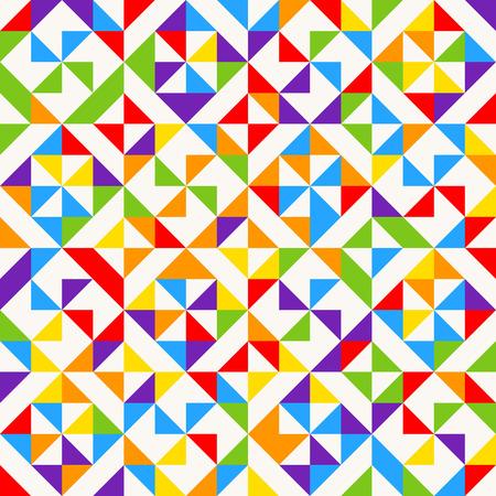 Mattonelle di mosaico dell'arcobaleno, fondo geometrico astratto, modello senza cuciture di vettore. Sfondo geometrico colorato con triangoli. Illustrazione vettoriale Archivio Fotografico - 97794806