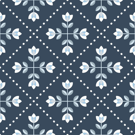 Scandinavian floral background, mid century wallpaper, seamless pattern vector illustration. Retro interior home decor in navy blue and silver gray colors.
